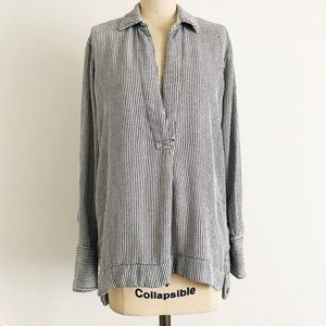 FREE PEOPLE | Oversized Striped Cotton Popover Top